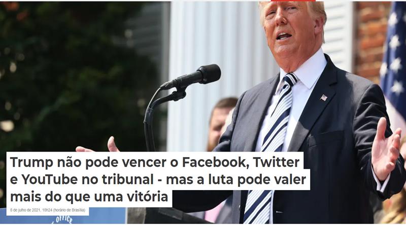 Donald Trump em uma entrevista coletiva para anunciar uma ação coletiva contra o Facebook, Twitter, Google e seus CEOs